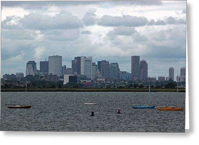 Yellow Sailboats Digital Art Greeting Cards - Boston Skyline in Watercolor Greeting Card by Suzanne Gaff