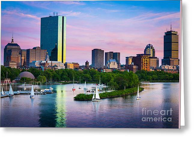 Reflective Greeting Cards - Boston Skyline Greeting Card by Inge Johnsson