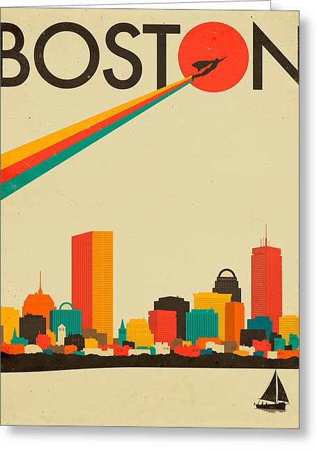Superheroes Greeting Cards - Boston Skyline Greeting Card by Jazzberry Blue
