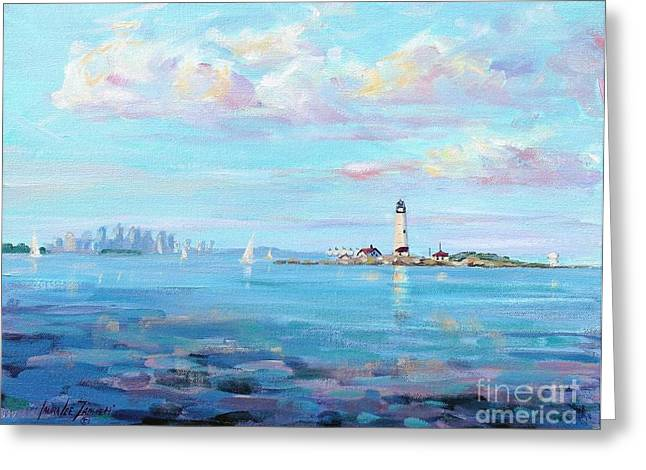 New England Coast Line Greeting Cards - Boston Skyline Greeting Card by Laura Lee Zanghetti
