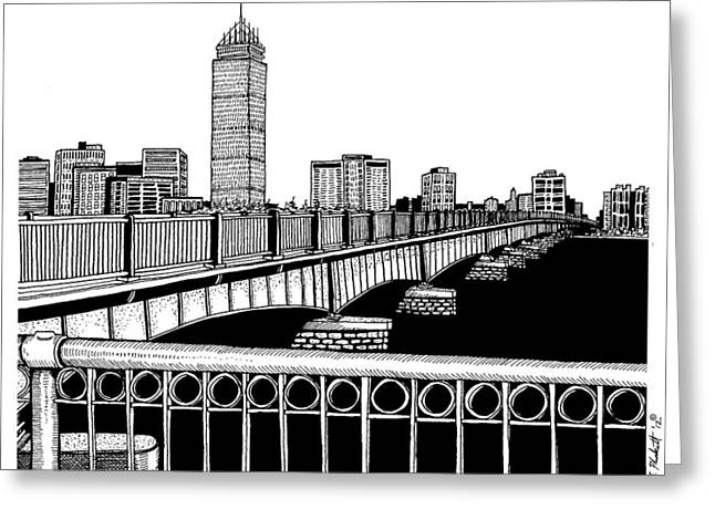 Charles River Drawings Greeting Cards - Boston Skyline Mass Ave Greeting Card by Conor Plunkett