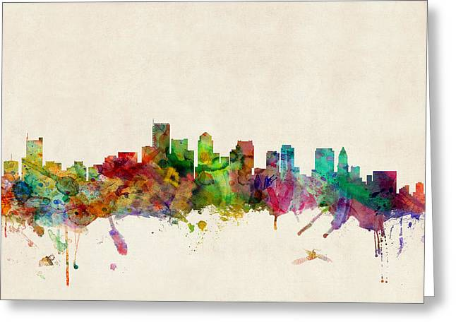 Urban Watercolour Greeting Cards - Boston Skyline Greeting Card by Michael Tompsett