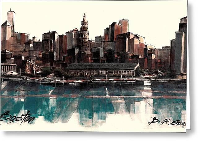 Fineartamerica Greeting Cards - Boston Skyline No.1952 Greeting Card by Diane Strain