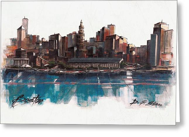 Fineartamerica Greeting Cards - Boston Skyline  Number 1 Greeting Card by Diane Strain