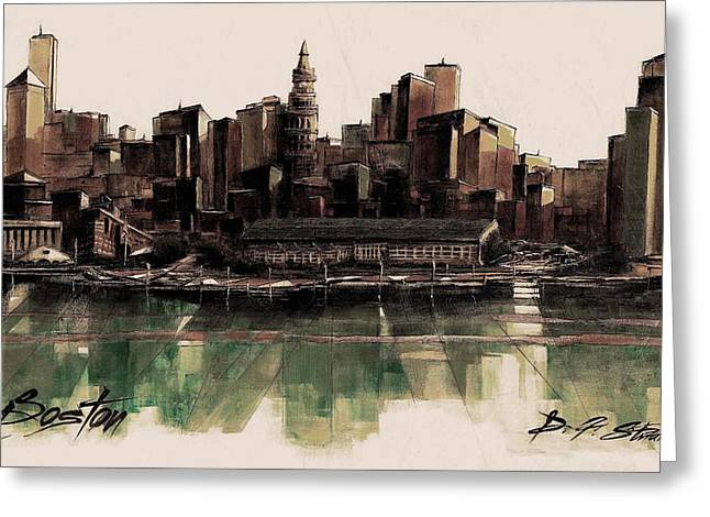 Fineartamerica Greeting Cards - Boston Skyline  Number 3311 Greeting Card by Diane Strain