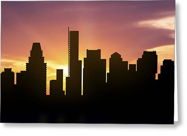 Town Mixed Media Greeting Cards - Boston Skyline Panorama Sunset Greeting Card by Aged Pixel