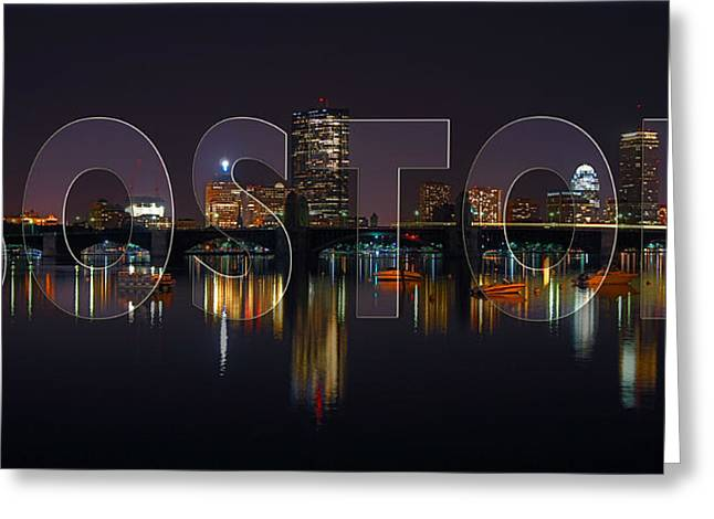 Boston Skyline Greeting Cards - Boston Skyline Poster Greeting Card by Joann Vitali