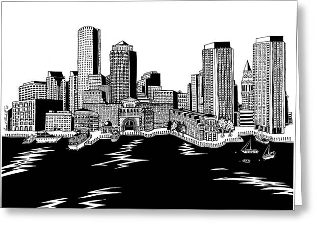 Boston Ma Drawings Greeting Cards - Boston Skyline Rowes Wharf Greeting Card by Conor Plunkett