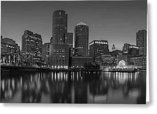 Fan Pier Greeting Cards - Boston Skyline Seaport District BW Greeting Card by Susan Candelario