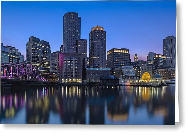 Night-scape Greeting Cards - Boston Skyline Seaport District Greeting Card by Susan Candelario
