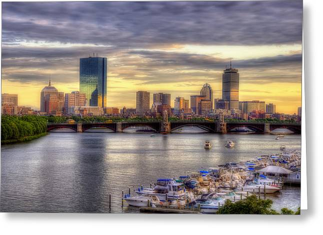 Yacht Basin Greeting Cards - Boston Skyline Sunset - 5 Greeting Card by Joann Vitali
