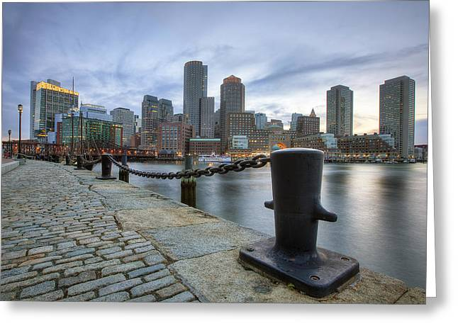 Historic City Pier Greeting Cards - Boston Skyline Sunset Greeting Card by Eric Gendron