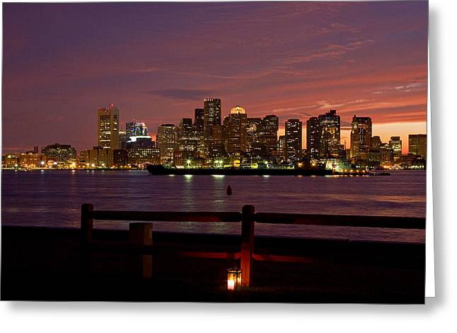 Ship Greeting Cards - Boston skyline sunset Greeting Card by Jeff Folger