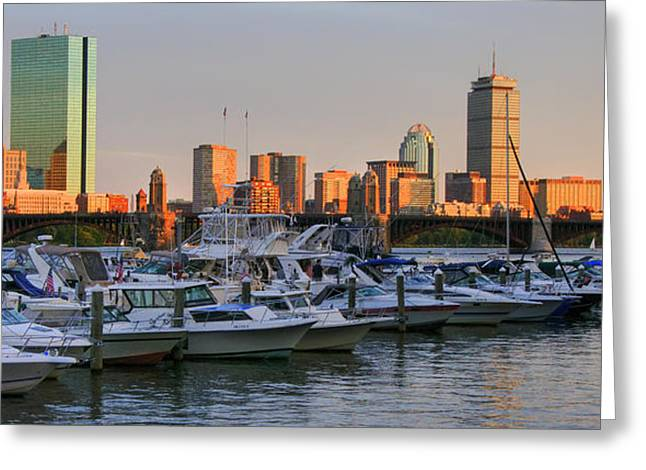 Boston North End Greeting Cards - Boston skyline Sunset on the Charles Greeting Card by Joann Vitali