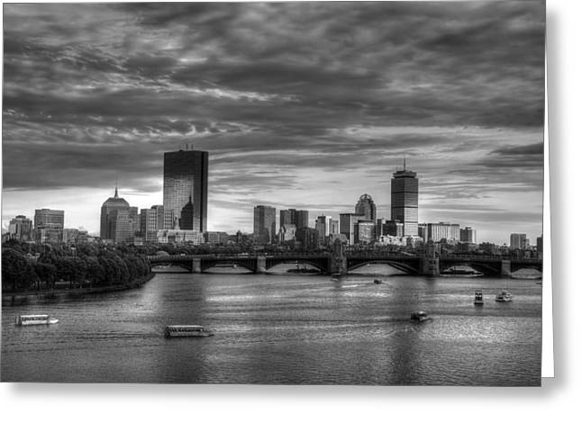 Recently Sold -  - Bay Bridge Greeting Cards - Boston Skyline Sunset Over Back Bay in BW Greeting Card by Joann Vitali