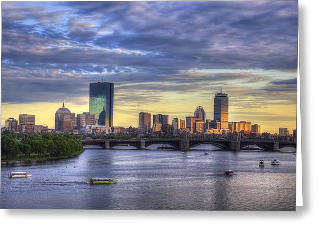 Recently Sold -  - Bay Bridge Greeting Cards - Boston Skyline Sunset over Back Bay Greeting Card by Joann Vitali