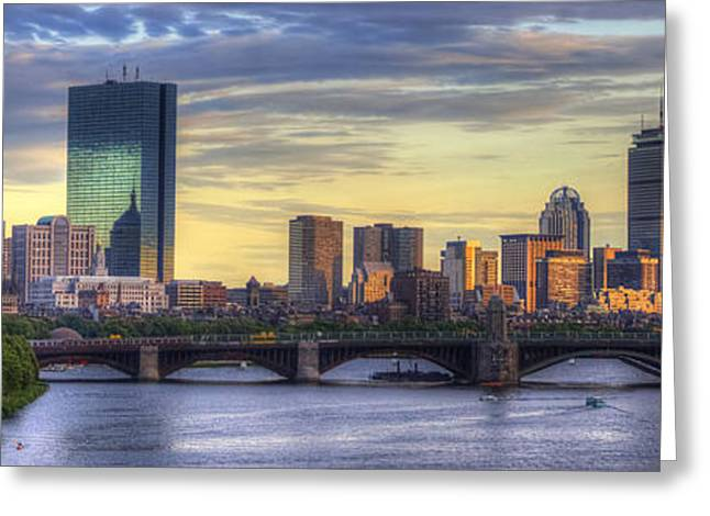 Charles River Greeting Cards - Boston Skyline Sunset Over Back Bay Panoramic Greeting Card by Joann Vitali