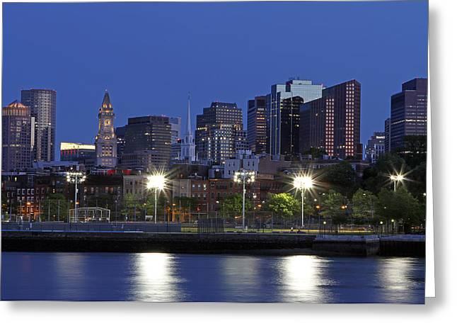 Boston Ma Greeting Cards - Boston Skyline with North End Greeting Card by Juergen Roth