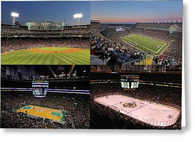 Foxboro Greeting Cards - Boston Sport Teams and Fans Greeting Card by Juergen Roth
