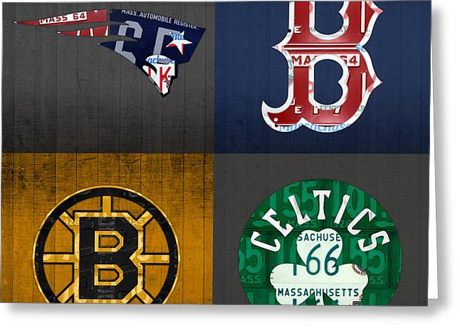 Sports Fan Greeting Cards - Boston Sports Fan Recycled Vintage Massachusetts License Plate Art Patriots Red Sox Bruins Celtics Greeting Card by Design Turnpike