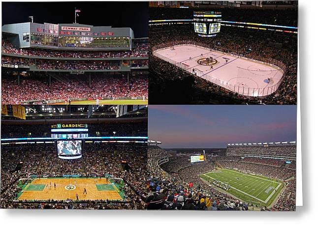 Footballs Greeting Cards - Boston Sports Teams and Fans Greeting Card by Juergen Roth