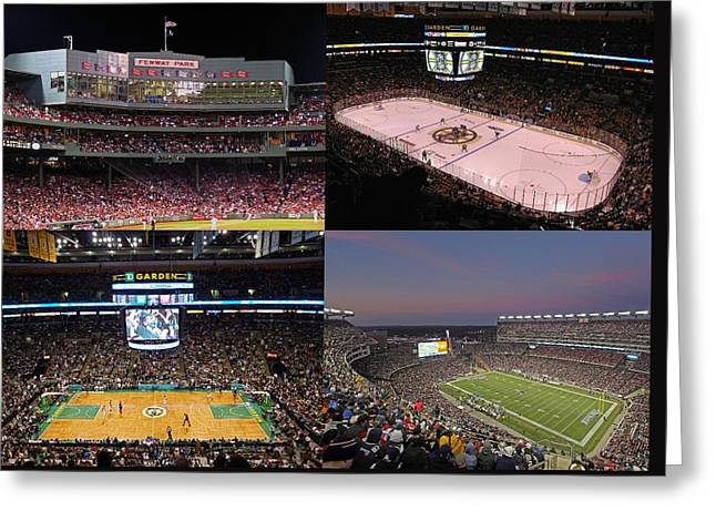 Sports Fields Greeting Cards - Boston Sports Teams and Fans Greeting Card by Juergen Roth