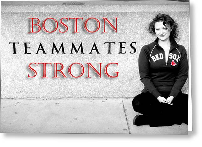 Red Sox Art Greeting Cards - Boston Strong Greeting Card by Greg Fortier