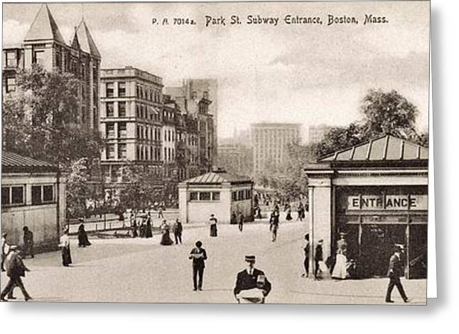 20th Greeting Cards - Boston Subway 1906 Greeting Card by Benjamin Yeager