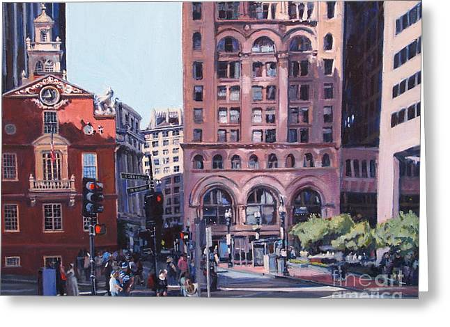 City Hall Greeting Cards - Boston Summer Greeting Card by Deb Putnam
