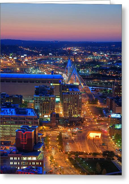 Td Greeting Cards - Boston Sunset Aerial View Greeting Card by Joann Vitali