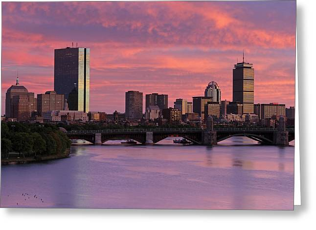 Boston Photos Greeting Cards - Boston Sunset Greeting Card by Juergen Roth