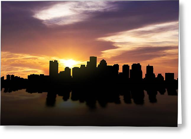 Boston Sunset Skyline  Greeting Card by Aged Pixel