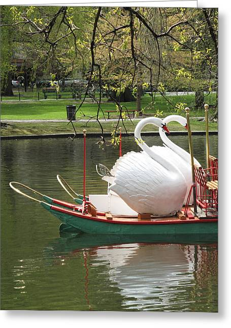 Boston Garden Greeting Cards - Boston Swan Boats Greeting Card by Barbara McDevitt