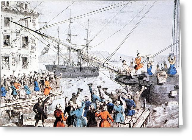 Protesters Greeting Cards - Boston Tea Party, 1773 Greeting Card by Granger
