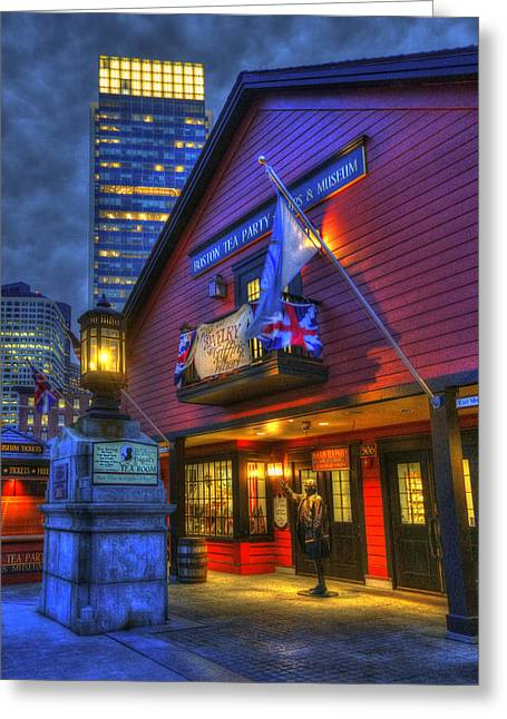 Congress Street Greeting Cards - Boston Tea Party Museum at Night Greeting Card by Joann Vitali