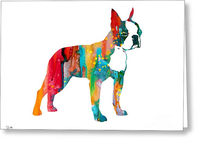 Boston Terrier Watercolor Greeting Cards - Boston Terrier 2 Greeting Card by Luke and Slavi