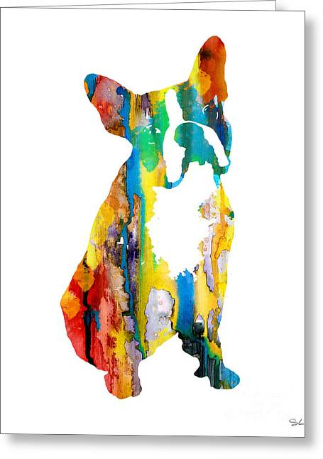 Boston Terrier Watercolor Greeting Cards - Boston Terrier 3 Greeting Card by Luke and Slavi