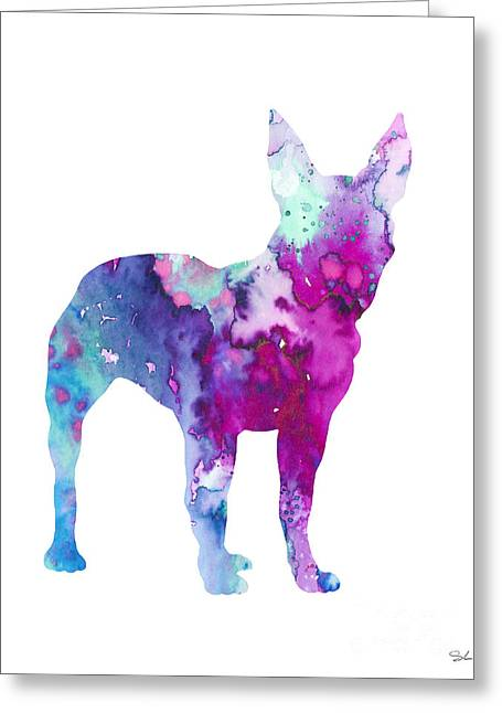 Boston Terrier Watercolor Greeting Cards - Boston Terrier 4 Greeting Card by Luke and Slavi