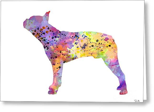 Boston Terrier Watercolor Greeting Cards - Boston Terrier 5 Greeting Card by Luke and Slavi