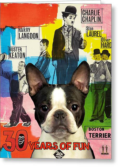 Dog Prints Greeting Cards - Boston Terrier Art - 30 Years of Fun Movie Poster Greeting Card by Sandra Sij