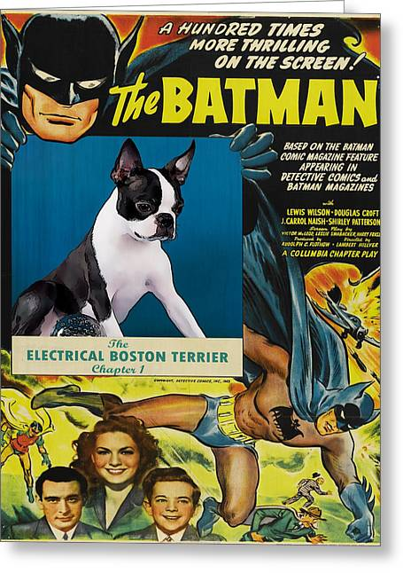 Dog Prints Greeting Cards - Boston Terrier Art - Batman Movie Poster Greeting Card by Sandra Sij
