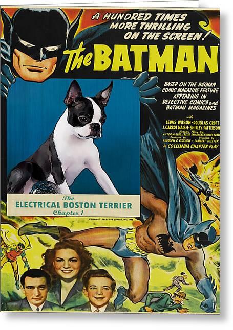 Boston Terrier Posters Greeting Cards - Boston Terrier Art - Batman Movie Poster Greeting Card by Sandra Sij