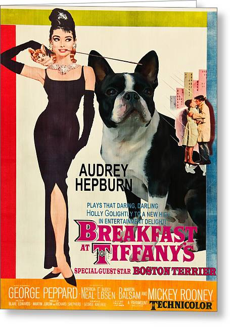 Boston Terrier Posters Greeting Cards - Boston Terrier Art - Breakfast at Tiffany Movie Poster Greeting Card by Sandra Sij