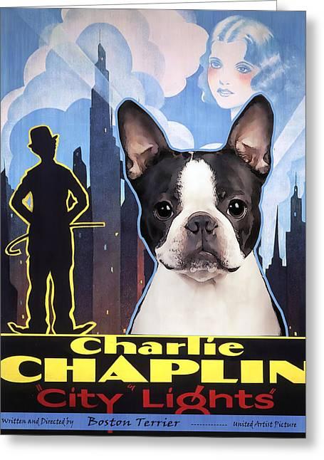 Boston Terrier Posters Greeting Cards - Boston Terrier Art - City Light Movie Poster Greeting Card by Sandra Sij