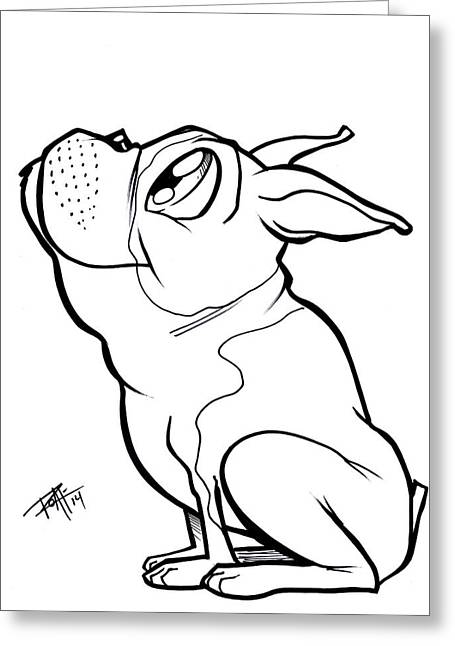 Dog Owner Drawings Greeting Cards - Boston Terrier  Greeting Card by Big Mike Roate