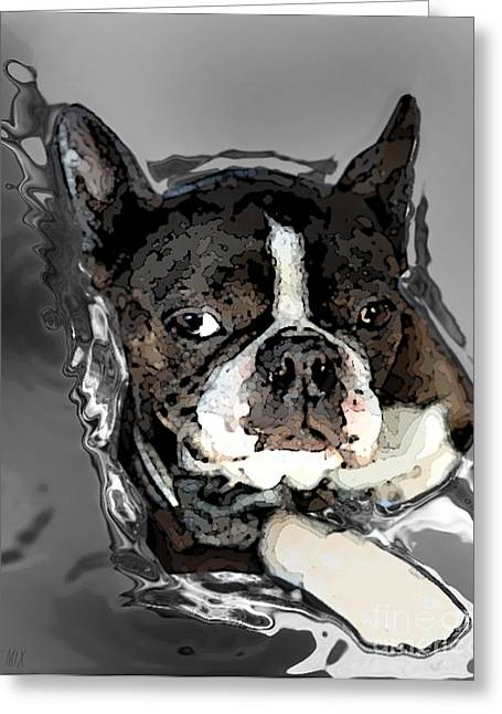 Boston Terrier.  Channeling Peter Lorre Greeting Card by Peter Mix