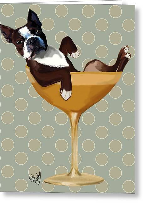 Dog Framed Prints Greeting Cards - Boston Terrier Cocktail Glass Greeting Card by Kelly McLaughlan