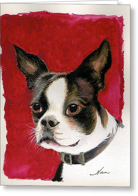 Boston Terrier Watercolor Greeting Cards - Boston Terrier Dog Greeting Card by Nan Wright