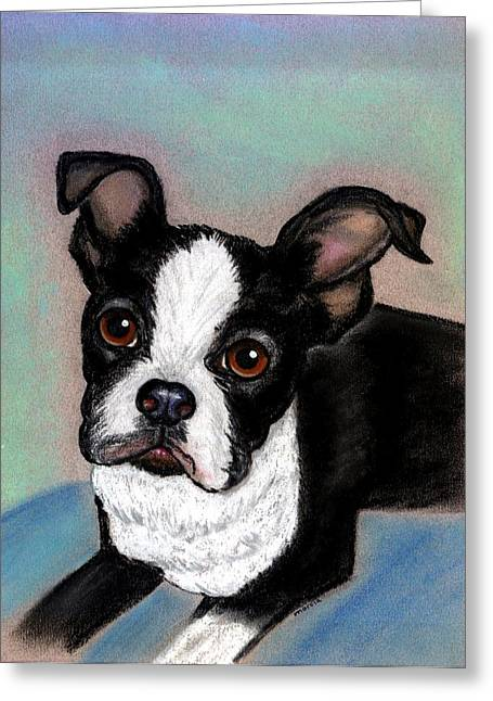 Boston Pastels Greeting Cards - Boston Terrier Dog Greeting Card by Olde Time  Mercantile