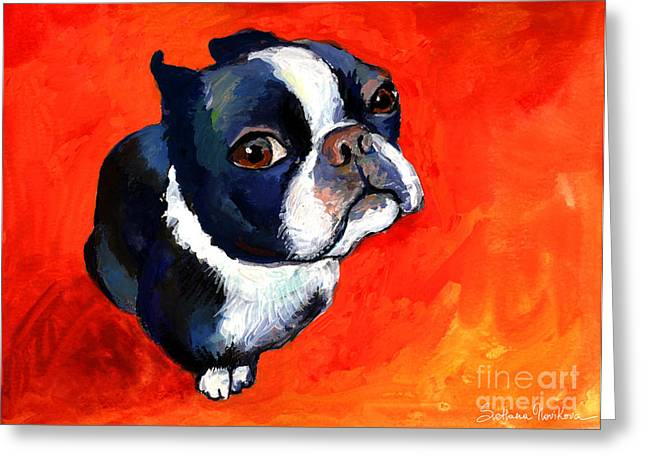 Red Eye Greeting Cards - Boston Terrier dog painting prints Greeting Card by Svetlana Novikova